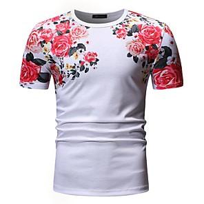 ieftine Curele Bărbați-Bărbați Rotund - Mărime EU / US Tricou Bumbac Floral Peteci / Imprimeu Alb