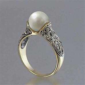 Dame Band Ring Ring Perle 1pc Gul Kobber 14K gullbelagt Geometrisk Form Vintage Europeisk Romantikk Fest Gave Smykker Vintage Stil Kul