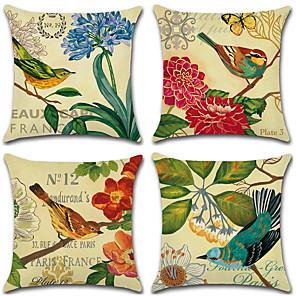 ieftine Perne-4.0 buc Bumbac / In Față de Pernă, Animal Clasic Print Floral Antichizat Floare