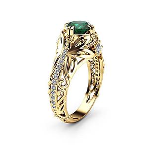 ieftine Brățări-Pentru femei Inel Inel de Logodnă Sintetic Emerald 1 buc Auriu Diamante Artificiale Aliaj Rotund Asiatic Lux Design Unic Logodnă Cadou Bijuterii Clasic Retro Picătură Cool