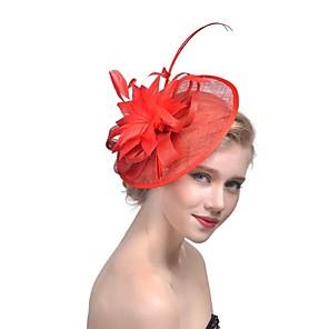 ieftine Bijuterii de Păr-Pentru femei femei Tiare Fascinators Pentru Nuntă Party / Seara Bal Prinţesă Pană Material Textil Fucsia Roșu-aprins Bej