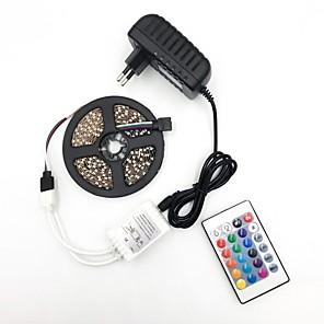 ieftine Becuri LED Glob-brelong 5050 10mm dc12v 5m 300led bandă luminoasă cu 24 chei clei de telecomandă RGB impermeabil cu alimentare