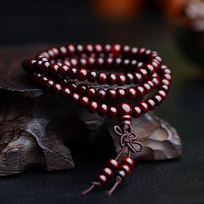 ieftine Brățări-Bărbați Brățări cu Mărgele Bratari Wrap Ștrasuri Multistratificat Simplu Vintage De lemn Bijuterii brățară Negru / Galben / Rosu Pentru Zilnic Stradă