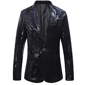 povoljno Muške košulje-Muškarci Veći konfekcijski brojevi Sako Klasični rever Poliester Crn / Navy Plava / Slim