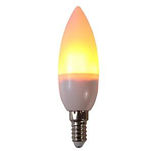 ieftine Becuri LED Corn-1 buc 3 W Becuri LED Corn 250 lm E14 C35 29 LED-uri de margele SMD 2835 Petrecere Decorativ Flacăra pâlpâie Alb Cald 85-265 V / RoHs