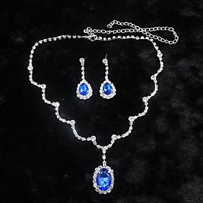 povoljno Car Signal Lights-Sapphire Kristal Komplet nakita Ogrlice s privjeskom Rese Pasijans Ovalnog Ispustiti dame Zabava Kubični Zirconia Naušnice Jewelry Obala / Plava Za