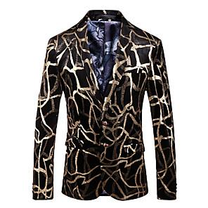 povoljno Muške košulje-Muškarci Dnevno Jesen zima Veći konfekcijski brojevi Normalne dužine Sako, Jednobojni V izrez Dugih rukava Spandex Zlato
