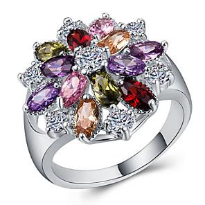 ราคาถูก แหวน-สำหรับผู้หญิง คำชี้แจง Ring แหวน Cubic Zirconia 1pc ขาว ทองแดง เคลือบทองคำสีกุหลาบ Geometric Shape เครื่องประดับชิ้นใหญ่ Stylish ความหรูหรา ปาร์ตี้ ของขวัญ เครื่องประดับ Flower เท่ห์
