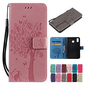 Недорогие Чехлы и кейсы для Huawei-Кейс для Назначение Huawei Huawei Nova 4 / P smart / Huawei Honor 10 Кошелек / Бумажник для карт / со стендом Чехол Однотонный / дерево Твердый Кожа PU