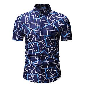 povoljno Narukvice-Majica Muškarci Geometrijski oblici Klasični ovratnik Print Plava / Kratkih rukava