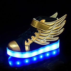 povoljno Kompleti svjetala-Dječaci / Djevojčice Udobne cipele / Svjetleće tenisice PU Sneakers Dijete (9m-4ys) / Mala djeca (4-7s) / Velika djeca (7 godina +) Vezanje Zlato Proljeće / Jesen / Color block / Guma