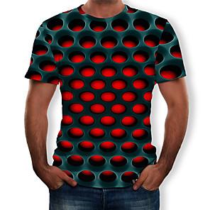 povoljno Muške majice i potkošulje-Majica s rukavima Muškarci - Ulični šik / pretjeran Ležerno / za svaki dan / Plus veličine Geometrijski oblici / 3D Okrugli izrez Print purpurna boja