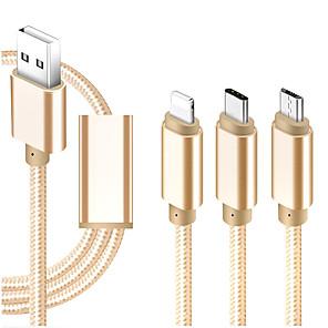 ieftine Android-Micro USB / Iluminare / Tip C Cablu 1m-1.99m / 3ft-6ft Toate-în-1 / Împletit / 1 la 3 textil Adaptor pentru cablu USB Pentru iPad / Samsung / Huawei