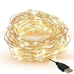 ieftine Fâșii Becurie LED-5m Fâșii de Iluminat 50 LED-uri SMD 0603 Alb Cald Alb Roșu Ce poate fi Tăiat Petrecere Decorativ 5 V / IP65