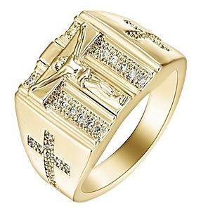 ieftine Inele-Bărbați Pentru femei Inel Zirconiu Cubic 1 buc Auriu Argintiu Oțel inoxidabil Aliaj Cadou Zilnic Bijuterii Σταυρός