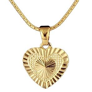 ieftine Inele-Pentru femei Coliere cu Pandativ Clasic Inimă Design Unic Clasic 18K Placat cu Aur Articole de ceramică Auriu 50 cm Coliere Bijuterii 1 buc Pentru Zilnic Stradă