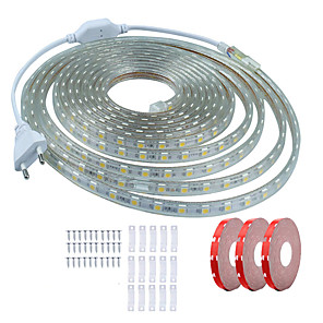 ieftine Benzi Lumină LED-kwb 15m benzi flexibile cu led 900 leduri smd5050 10mm 1 set de montare alb cald alb / alb / roșu impermeabil / decupabil / decorativ 220-240 v 1 set