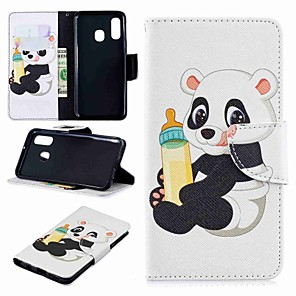 ieftine lanterne-Maska Pentru Samsung Galaxy A6 (2018) / A6+ (2018) / Galaxy A7(2018) Portofel / Titluar Card / Cu Stand Carcasă Telefon Panda Greu PU piele