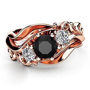 ieftine Inele-Pentru femei Band Ring Inel Zirconiu Cubic 1 buc Roz auriu Articole de ceramică Placat Cu Aur Roz Geometric Shape Lux Design Unic European Petrecere Cadou Bijuterii Clasic Floare Cool