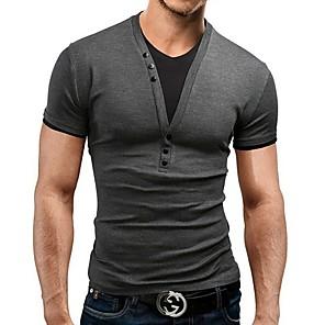 povoljno Muške majice i potkošulje-Veličina EU / SAD Majica s rukavima Muškarci Jednobojni V izrez Slim Red