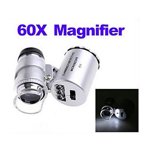 ieftine Lupe-60x mini led microscop iluminat cu buzunar cu lămpi lămpi portabile bijuterie magnifier cu led lumina uv