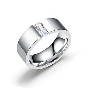 ieftine Inele-Bărbați Inel Zirconiu Cubic 1 buc Argintiu Oțel titan Stilat Zilnic Petrecere Logodnă Bijuterii