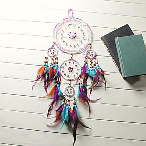 baratos Decoração de parede-apanhador de sonhos de artesanato tradicional pendurar enfeite de penas com cinco anéis