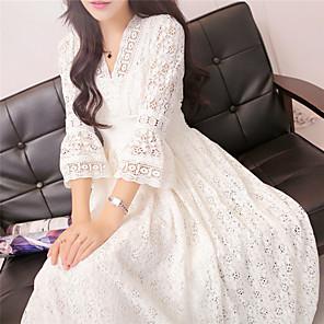 Χαμηλού Κόστους Print Dresses-Γυναικεία Λευκό Φόρεμα Βασικό Κομψό Θήκη Swing Μονόχρωμο Βαθύ V Δαντέλα Τ M