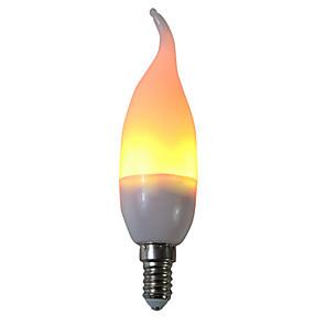 ieftine Becuri LED Glob-1 buc 3 W Becuri LED Corn 250 lm E14 C35L 29 LED-uri de margele SMD 2835 Petrecere Decorativ Flacăra pâlpâie Alb Cald 85-265 V / RoHs