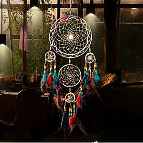 voordelige Wanddecoratie-handgemaakte dromenvangers veer Bohemen stijl wanddecoraties