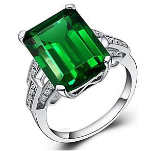 ieftine Inele-Pentru femei femei Inel Verde Smarald 1 buc Verde S925 Sterling Silver Geometric Shape Stilat Petrecere Zilnic Bijuterii Clasic Norocos Dispozitie Cool