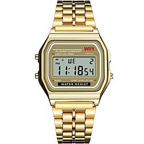 ieftine Ceasuri Damă-Pentru femei Ceas digital Piața de ceas Sclipici Modă Negru Argint Auriu Oțel inoxidabil Silicon Chineză Piloane de Menținut Carnea Negru Negru+Alb Auriu Cronograf Iluminat Ceas Casual 1 piesă