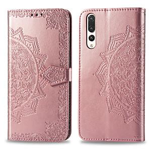 Недорогие Чехлы и кейсы для Huawei-Кейс для Назначение Huawei Huawei P20 Pro Бумажник для карт / Флип Чехол Однотонный Твердый Кожа PU