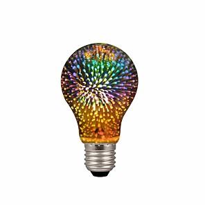 ieftine Becuri LED Glob-1pc a19 / a60 4w condus 3d colorat stele focuri de artificii bec (2200k) e26 / e27 becuri cu filament de bază bec edison bec pentru casa de vacanță bar decorațiuni multicolor led lampă