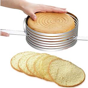 ieftine Ustensile & Gadget-uri de Copt-mucegai de tort circular retractabil, inel de tort, din oțel inoxidabil, reglabil pentru felie, instrument de coacere