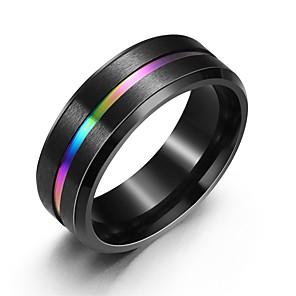 povoljno Pametni satovi-Muškarci Prsten Prstenovi za utore 1pc Crn Titanium Steel Europska Dnevno Jewelry