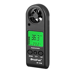 ieftine Frontale-anemometru digital handheld viteza vântului contor gabarit holdpeak hp-816b măsurarea vitezei fluxului de aer termometru cu răcire de vânt și lumină de fundal pentru windsurfing zmeu zboară navigație