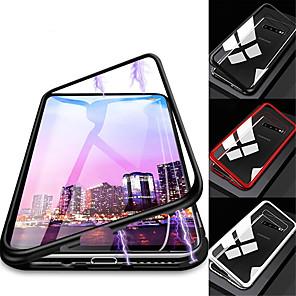 Недорогие Чехлы и кейсы для Galaxy S6 Edge-Кейс для Назначение SSamsung Galaxy S9 / S9 Plus / S8 Plus Защита от удара / Прозрачный / Магнитный Чехол Однотонный Твердый Закаленное стекло / Металл