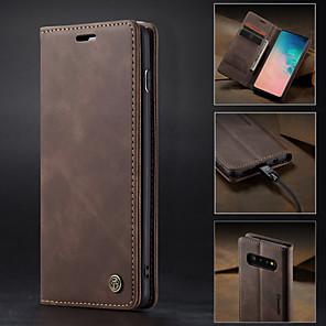 billige Etuier / deksler til Galaxy S-modellene-Etui Til Samsung Galaxy Galaxy S10 / Galaxy S10 Plus / Galaxy S10 E Lommebok / Kortholder / med stativ Heldekkende etui Ensfarget Hard PU Leather