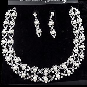ieftine Colier la Modă-Perle Seturi de bijuterii Coliere cu Pandativ Franjuri femei Petrecere Modă de Mireasă Perle Zirconiu Cubic Argilă cercei Bijuterii Alb Pentru Nuntă Petrecere Ocazie specială Aniversare Zi de Naștere