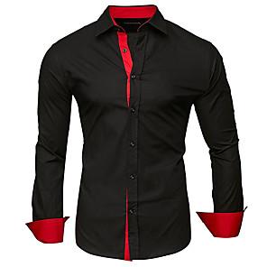 povoljno Muške košulje-Veći konfekcijski brojevi Majica Muškarci Pamuk Color block / Jednobojni Klasični ovratnik Kolaž Crn