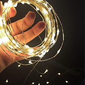hesapli LED Şerit Işıklar-10m Dizili Işıklar 100 LED'ler SMD 0603 1pc Sıcak Beyaz Beyaz Kırmızı Noel Düğün Dekorasyonu AA Bataryalar Powered