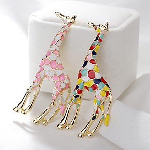 cheap Brooches-Women's Brooches Giraffe Cute Brooch Jewelry Light Pink Assorted Color For Daily