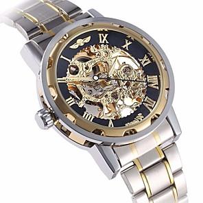 ieftine Ceasuri Bărbați-WINNER Bărbați Ceas Schelet Ceas de Mână ceas mecanic Mecanism automat Oțel inoxidabil Argint Gravură scobită Analog Lux extravagant - Auriu