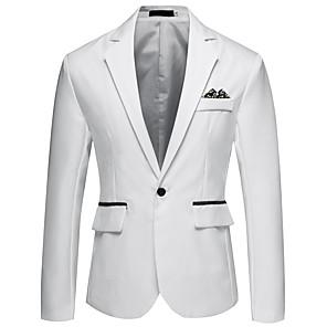 ieftine Blazer & Costume de Bărbați-Bărbați Blazer, Mată / Bloc Culoare Rever Clasic Acrilic / Poliester Gri / Albastru Deschis / Bleumarin