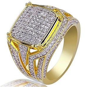 ieftine Bijuterii Bărbați-Bărbați Inel Zirconiu Cubic 1 buc Auriu 18K Placat cu Aur Pătrat Stilat Petrecere Zilnic Bijuterii Clasic Bucurie Cool