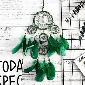 baratos Decoração de parede-Sonho artesanal coletores interior memória verde 5 anel pingente de sonho pingente de arte da parede decoração