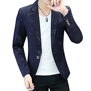 ieftine Blazer & Costume de Bărbați-Bărbați Blazer Rever Clasic Poliester Negru / Bleumarin / Mov / Zvelt