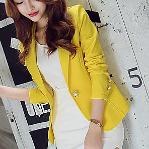 ieftine Blazer & Costume de Bărbați-Pentru femei Blazer, Mată Rever Clasic Poliester / Spandex Trifoi / Negru / Galben