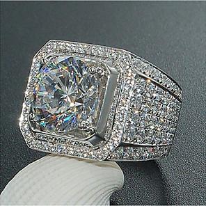 ieftine Lasere-Bărbați Inel Diamant sintetic 1 buc Alb Zirconiu Cubic Articole de ceramică Geometric Shape Lux Mare Aniversare Petrecere / Seară Bijuterii Clasic pava Modă Stras Cool